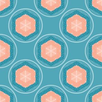 Geometric circle of life seamless pattern vector
