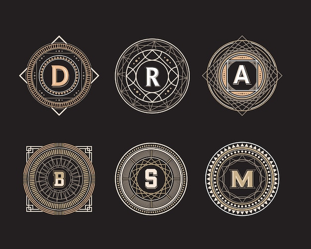 Geometric circle shape line badge set