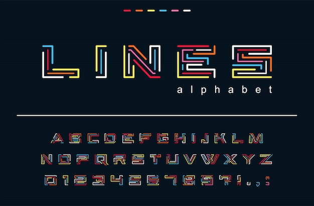 Geometric color lines font. technology, puzzle maze, fun art abstract alphabet. letters, numbers for trendy fashion, hipster festive, creative game logo design