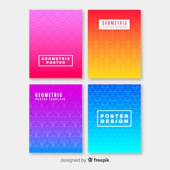 Geometric colorful gradient poster collection