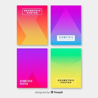 幾何学的なカラフルなグラデーションポスターコレクション