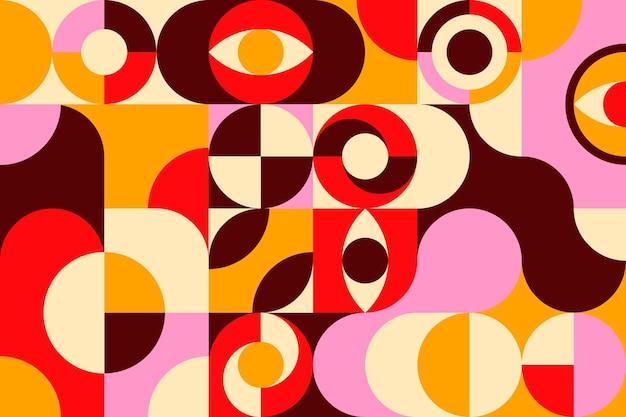 기하학적 다채로운 벽화 벽지