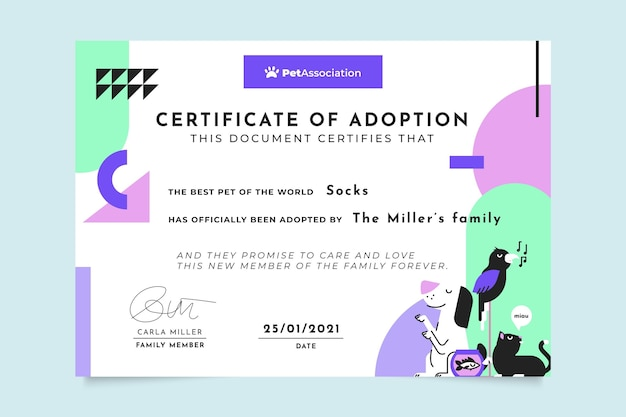 Сертификат геометрических красочных домашних животных