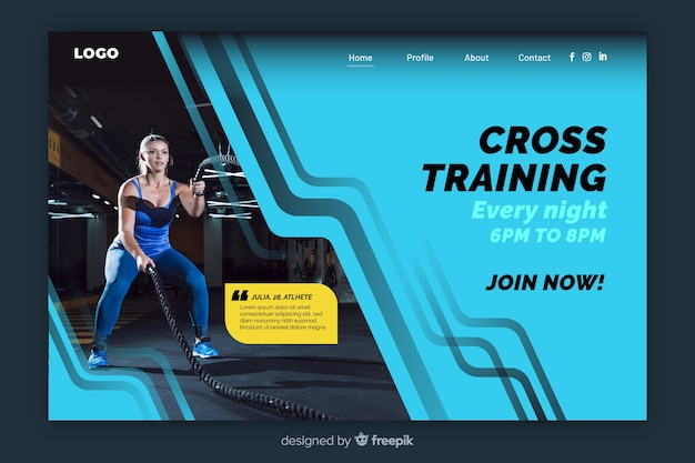 Geometric colorful sport landing page with photo