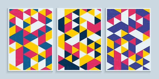 Geometric colorful triangles for poster cover design