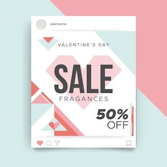 幾何学的なカラフルなバレンタインデーのinstagramの投稿