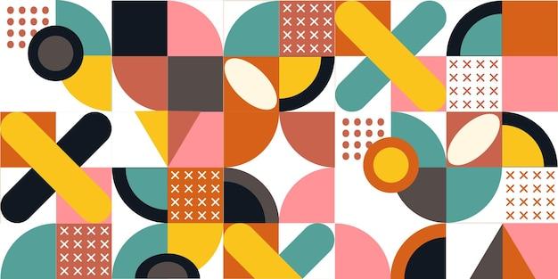 Геометрический красочный узор вектор. модные геометрические элементы. ретро дизайн плаката