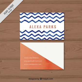 Geometric company card with watercolor zig-zag lines