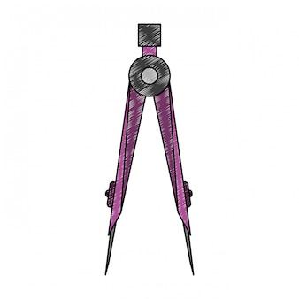 Geometric compass utensil scribble