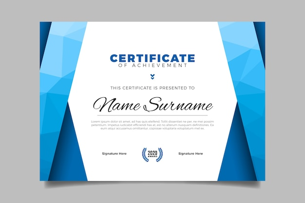 Geometric concept for certificate template
