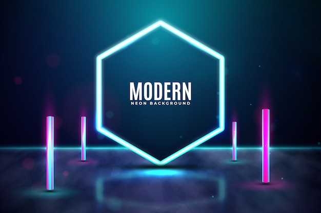 Geometric concept neon lights background