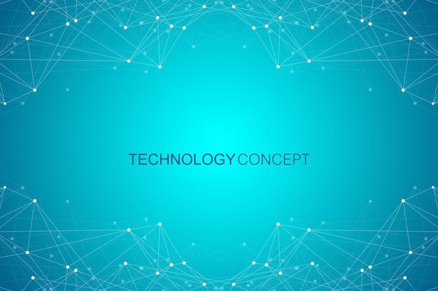 幾何学的に接続された背景の線と点。シンプルな技術の抽象的なグラフィックの背景デザイン、ベクトルイラスト。