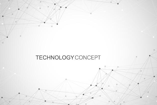Геометрические связанные фоновые линии и точки. простая технология абстрактный графический дизайн фона, векторные иллюстрации.