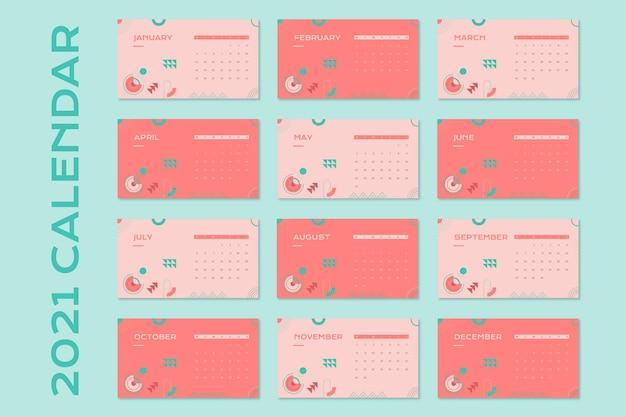 幾何学的な珊瑚の形の月間一般カレンダー 無料ベクター