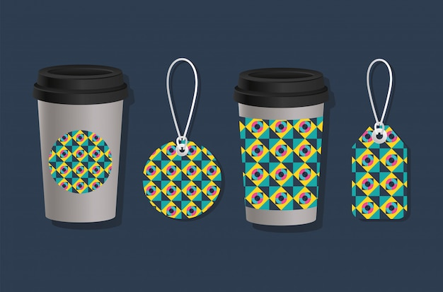 Geometric cover coffee mugs and labels