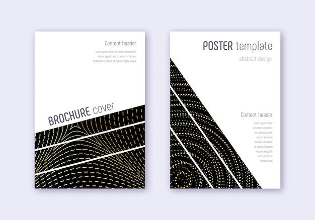 幾何学的なカバーデザインテンプレートセット。黒の背景にゴールドの抽象的な線。大胆なカバーデザイン。好意的なカタログ、ポスター、本のテンプレートなど。