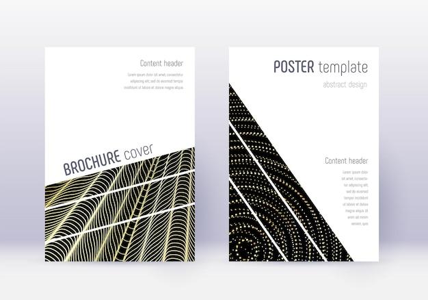 幾何学的なカバーデザインテンプレートセット。黒の背景にゴールドの抽象的な線。大胆なカバーデザイン。現代のカタログ、ポスター、本のテンプレートなど。