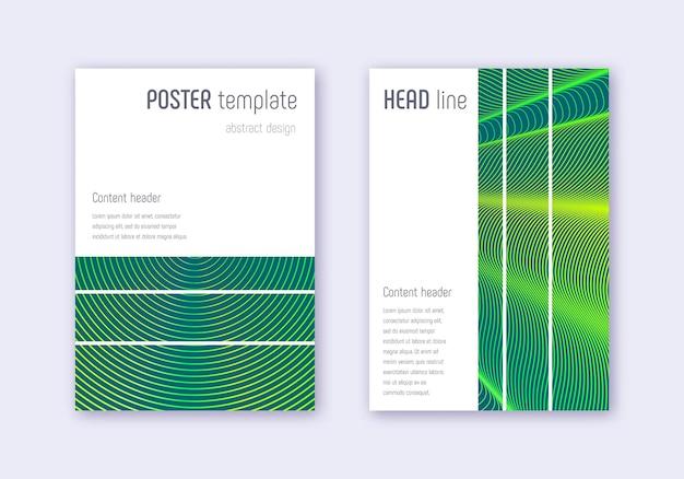 幾何学的なカバーデザインテンプレートセット。暗い背景に緑の抽象的な線。美しいカバーデザイン。ユニークなカタログ、ポスター、本のテンプレートなど。