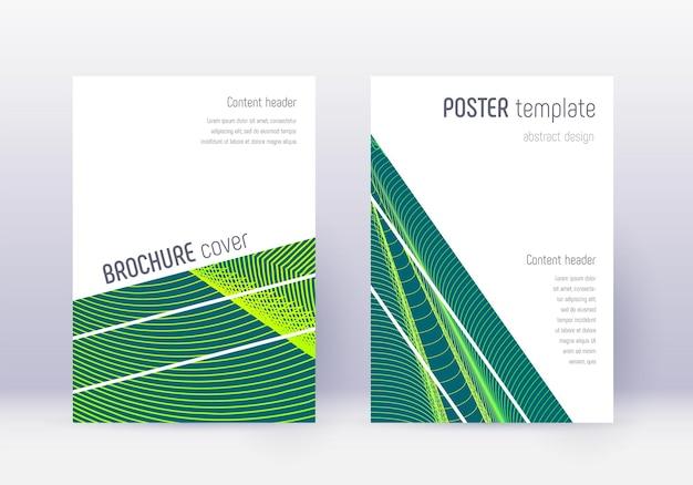 幾何学的なカバーデザインテンプレートセット。暗い背景に緑の抽象的な線。息をのむようなカバーデザイン。素晴らしいカタログ、ポスター、本のテンプレートなど。