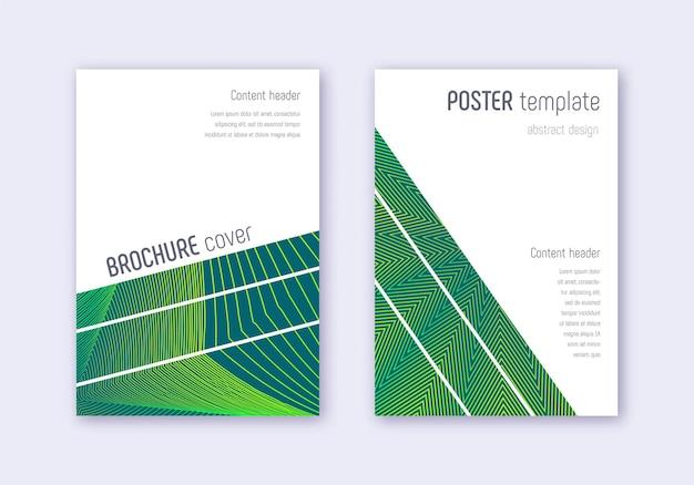 幾何学的なカバーデザインテンプレートセット。暗い背景に緑の抽象的な線。息をのむようなカバーデザイン。感情的なカタログ、ポスター、本のテンプレートなど。