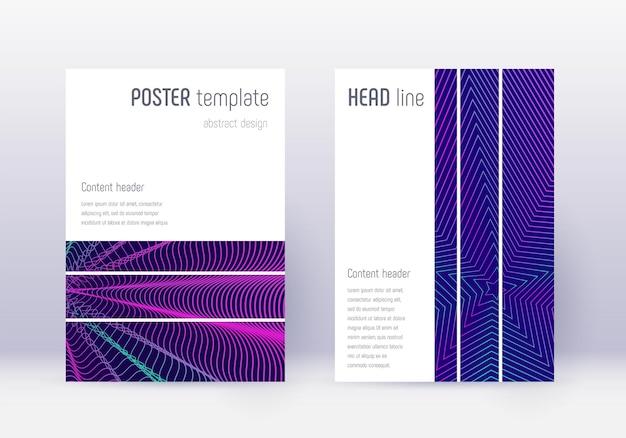 幾何学的なカバーデザインテンプレートセット。紺色の背景にネオンの抽象的な線。妖艶なカバーデザイン。著名なカタログ、ポスター、本のテンプレートなど。