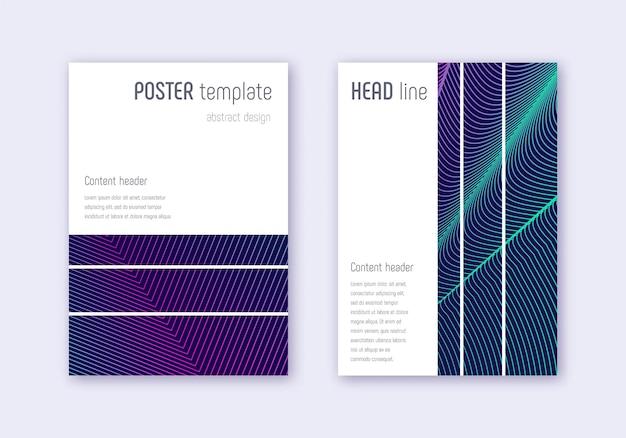 幾何学的なカバーデザインテンプレートセット。紺色の背景にネオンの抽象的な線。妖艶なカバーデザイン。エネルギッシュなカタログ、ポスター、本のテンプレートなど。