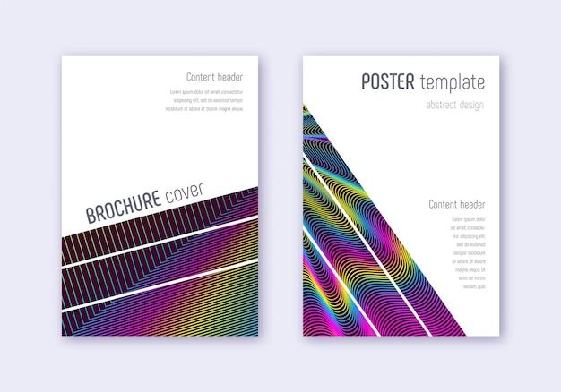 幾何学的なカバーデザインテンプレートセット。ワインレッドの背景に虹の抽象的な線。華麗なカバーデザイン。オリジナルカタログ、ポスター、本のテンプレートなど。