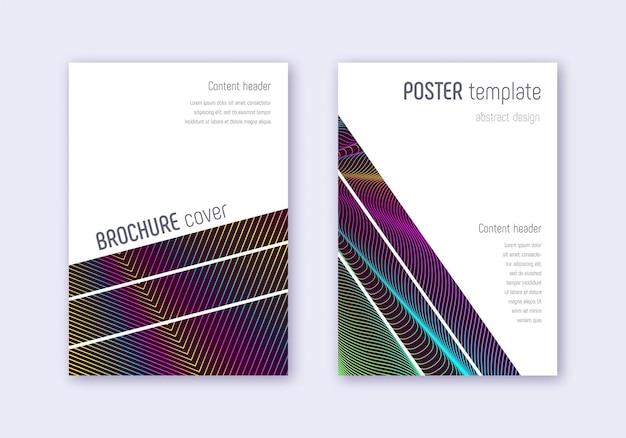 幾何学的なカバーデザインテンプレートセット。ワインレッドの背景に虹の抽象的な線。華麗なカバーデザイン。素晴らしいカタログ、ポスター、本のテンプレートなど。