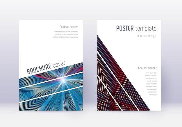 幾何学的なカバーデザインテンプレートセット。白青の背景に赤の抽象的な線。魅惑的なカバーデザイン。クラシックカタログ、ポスター、本のテンプレートなど。