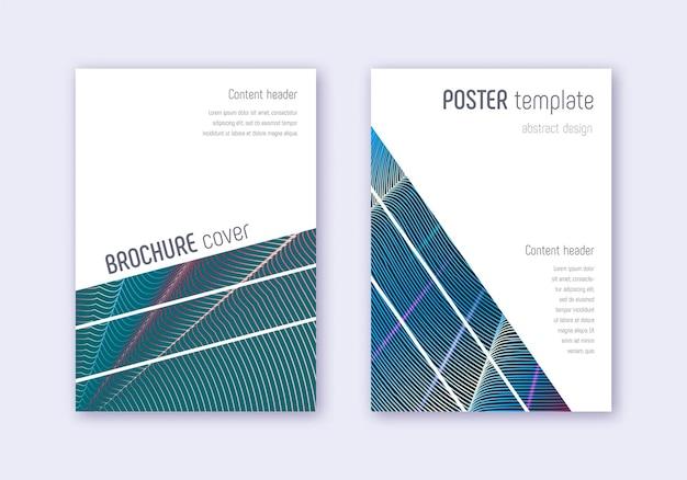 幾何学的なカバーデザインテンプレートセット。暗い背景に赤白青の抽象的な線。魅惑的なカバーデザイン。フェアカタログ、ポスター、本のテンプレートなど。