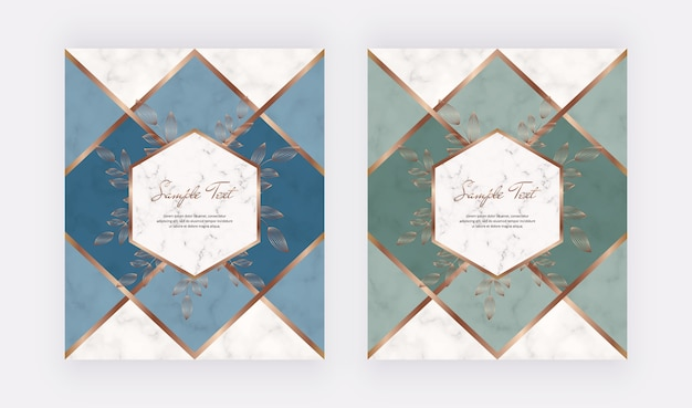 Geometric cover design with blue and green triangular shapes and golden leafs frames on the marble texture.
