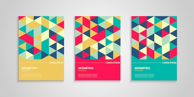 Geometric cover design with colorful triangles