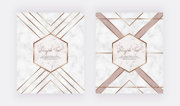 Geometric cover design with gold lines triangular shape on the marble texture.