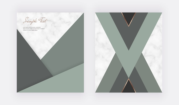 Geometric cover design with green triangular shapes and golden lines on the marble texture.