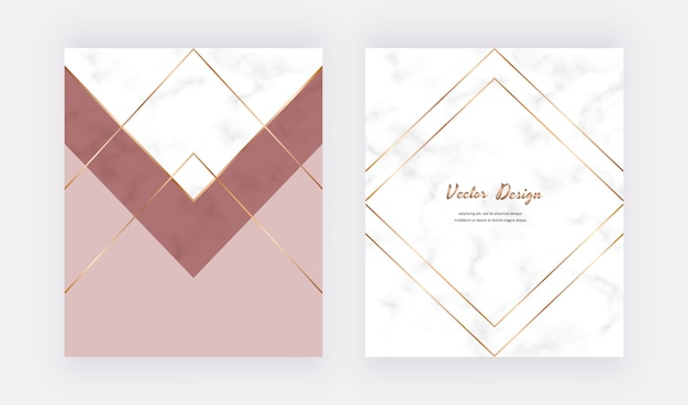 Geometric cover design with nude and gold triangles, lines on the marble texture.