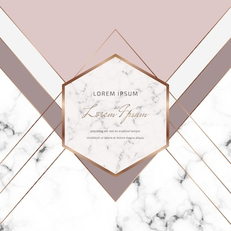 Geometric cover design with nude, grey triangles shapes and gold lines on the marble texture.