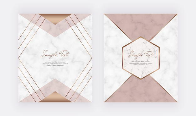 Geometric cover design with pink, nude triangular shapes and golden lines on the marble texture.