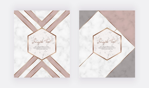 Geometric cover design with triangular shapes, gold lines on the marble texture.