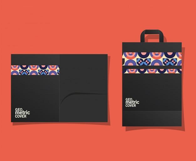 Геометрическая обложка и сумка