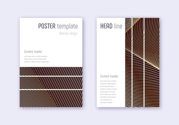 Geometric cover  template set. gold abstract lines on maroon background. beautiful cover design. grand catalog, poster, book template etc.