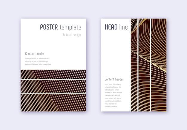 기하학적 표지 템플릿 집합입니다. 적갈색 바탕에 골드 추상 라인입니다. 아름다운 표지 디자인. 그랜드 카탈로그, 포스터, 서적 템플릿 등