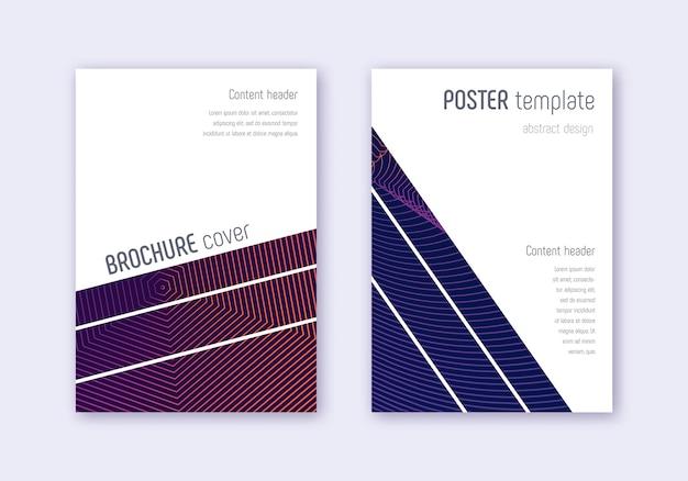 幾何学的なカバーテンプレートセット。暗い背景に紫の抽象的な線。魅惑的なカバーデザイン。活気のあるカタログ、ポスター、本のテンプレートなど。