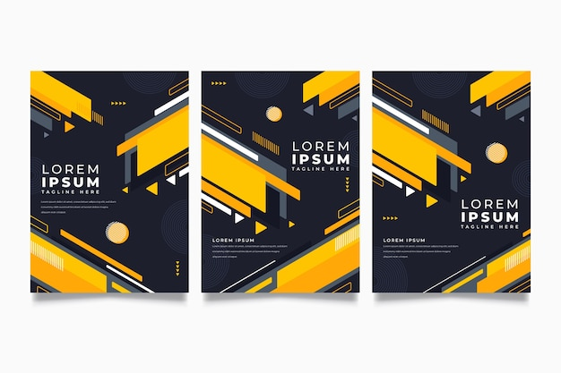 Geometric covers on dark background