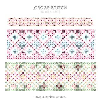 Geometric cross stitch decorations