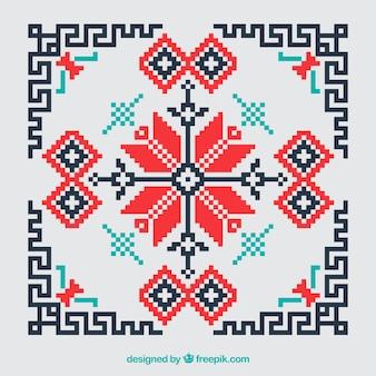 Geometric cross stitch red and black background