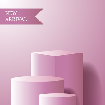 Geometric cube and cylinder with pink feminine color for product podium display new arrival for girl or woman