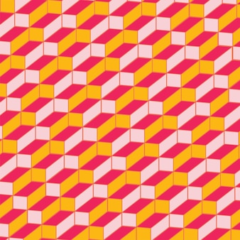 Geometric cube seamless pattern background in pink and yellow color.