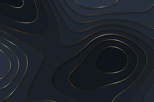 Geometric cut paper black luxury background with gold elements, topography map concept.