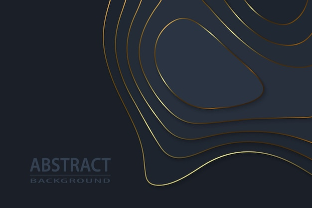 Geometric cut paper black luxury background with gold elements