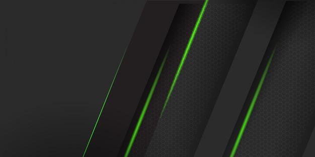 緑のストライプの背景を持つ幾何学的な暗い素材